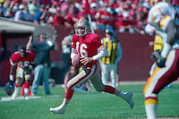 SAN FRANCISCO, CA - Quarterback Joe Montana of the San Francisco 49ers in action during a game against the Washington Redskins at Candlestick Park in San Francisco, California in 1990. Photo by Brad Mangin
