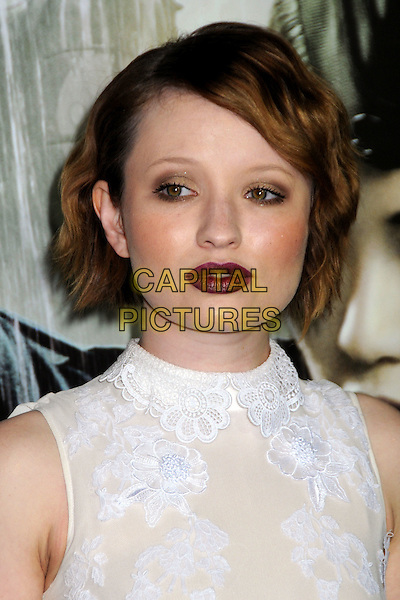 """EMILY BROWNING.""""Sucker Punch"""" Los Angeles Premiere held at Grauman's Chinese Theatre, Hollywood, California, USA..March 23rd, 2011.headshot portrait make-up lipstick white sleeveless beige lace high collar neck red dark goth gothic.CAP/ADM/BP.©Byron Purvis/AdMedia/Capital Pictures."""