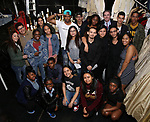 """High School student performers backstage before The Rockefeller Foundation and The Gilder Lehrman Institute of American History sponsored High School student #EduHam matinee performance of """"Hamilton"""" at the Richard Rodgers Theatre on 5/10/2017 in New York City."""