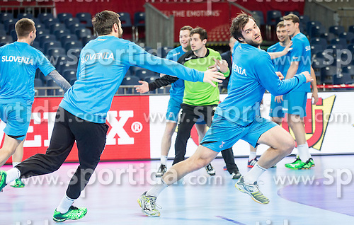 Dragan Gajic of Slovenia and Klemen Cehte of Slovenia during practice session of Team Slovenia on Day 1 of Men's EHF EURO 2016, on January 15, 2016 in Centennial Hall, Wroclaw, Poland. Photo by Vid Ponikvar / Sportida