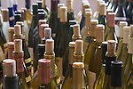 Opened bottles wait judging at wine competition in Taos, New Mexico