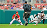 1 May 2011: Washington Nationals infielder Alex Cora gets San Francisco Giants outfielder Darren Ford out stealing second during a game at Nationals Park in Washington, District of Columbia. The Nationals defeated the Giants 5-2. Mandatory Credit: Ed Wolfstein Photo