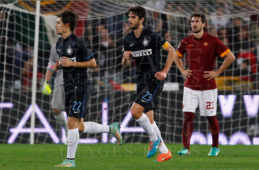 Calcio, Serie A: Roma vs Inter. Roma, stadio Olimpico, 30 novembre 2014.<br /> FC Inter&rsquo;s Andrea Ranocchia, center, celebrates with teammate Dodo&rsquo; after scoring as Roma&rsquo;s Davide Astori, right reacts during the Italian Serie A football match between AS Roma and FC Inter at Rome's Olympic stadium, 30 November 2014.<br /> UPDATE IMAGES PRESS/Riccardo De Luca
