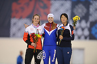 SPEED SKATING: SALT LAKE CITY: 20-11-2015, Utah Olympic Oval, ISU World Cup, 500m B-division, Kaylin Irvine (CAN), Nadezhda Aseyeva (RUS), Mi Jang (KOR), ©foto Martin de Jong