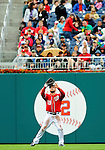 1 May 2011: Washington Nationals outfielder Laynce Nix pulls in a fly ball against the San Francisco Giants at Nationals Park in Washington, District of Columbia. The Nationals defeated the Giants 5-2. Mandatory Credit: Ed Wolfstein Photo