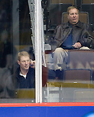Greg Brown (BC Assistant Coach), Jim Logue (BC Assistant Coach) - The 2008 Frozen Four participants practiced on Wednesday, April 9, 2008, at the Pepsi Center in Denver, Colorado.