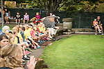 Haris hawk Sonora flys over the crowd during a Wild Life Live show at The Oregon Zoo.  © Oregon Zoo / Photo by Carli Davidson