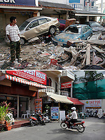 A tsunami brought much destruction to the popular tourist town of Patong, Phuket, a tsunami that struck Asia 26.12.2004.  Thai military and locals quickly started the task of cleaning up, in the hope of having the tourists return as soon as possible. ..Five years later Patong looks pretty much like it did before the tsunami hit. At the end of Post Office street there is nothing to hint at the destruction that the tsunami brought..©Fredrik Naumann/Felix Features