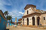 Central America, Cuba, Trinidad. Church of the Holy Trinity overlooking Plaza Mayor in Trinidad, Cuba.