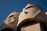 Chimney Pots of Pedrera House by Gaudi in Barcelona, Catalonia, Spain