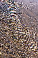 Close up of Nature's abstract creation formed by a creek running into Lake Michigan on the beach at Holland, MI.