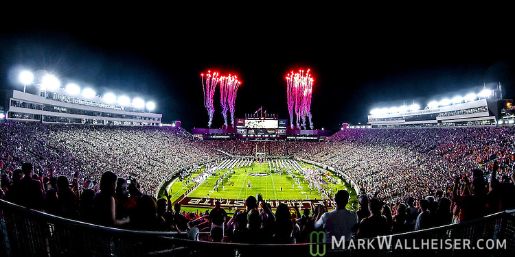 Florida State takes the field on Bobby Bowden field in Doak S. Campbell Stadium for an NCAA college football game against Clemson in Tallahassee, Fla., Saturday, Sept. 20, 2014. Florida State defeated Clemson 23-17 in overtime. (AP Photo/Mark Wallheiser)
