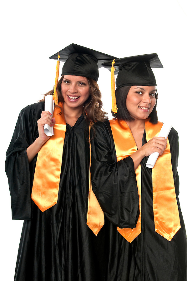 Girls celebrating their graduation very happy.