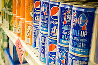 Cans of SuperBowl branded Pepsi in a grocery store in New York on Tuesday, February 14, 2017. PepsiCo announced it will report its fourth-quarter earnings on Wednesday prior to the opening of the market. (© Richard B. Levine)