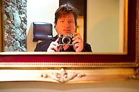 Adam Wiseman self-portrait in the bathroom of Non Solo in the Centro Historico. . Snap shots November/December, Mexico 2012