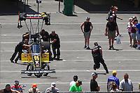 Jun 19, 2016; Bristol, TN, USA; Crew members with NHRA top fuel driver Clay Millican during the Thunder Valley Nationals at Bristol Dragway. Mandatory Credit: Mark J. Rebilas-USA TODAY Sports