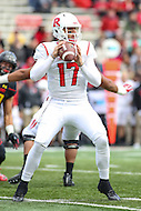 College Park, MD - November 26, 2016: Rutgers Scarlet Knights quarterback Giovanni Rescigno (17) attempts a pass during game between Rutgers and Maryland at  Capital One Field at Maryland Stadium in College Park, MD.  (Photo by Elliott Brown/Media Images International)