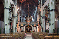 BRUGES, BELGIUM - FEBRUARY 07 : A general view of the nave of the church of Our Lady with the rood screen and the choir in the background on February 07, 2009 in Bruges, Western Flanders, Belgium. The church of Notre Dame was built in the 13th and 14th centuries. (Photo by Manuel Cohen)