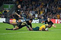 Tevita Kuridrani of Australia scores a try in the second half. Rugby World Cup Final between New Zealand and Australia on October 31, 2015 at Twickenham Stadium in London, England. Photo by: Patrick Khachfe / Onside Images