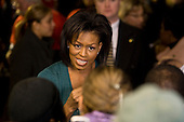 "Washington, DC - January 19, 2009 -- Michelle Obama, wife of U.S. President -elect Barack Obama takes part in  ""Operation Gratitude"" a public service event at RFK Stadium in Washington, D.C., Monday, January 19, 2009..Credit: Mannie Garcia - Pool via CNP"