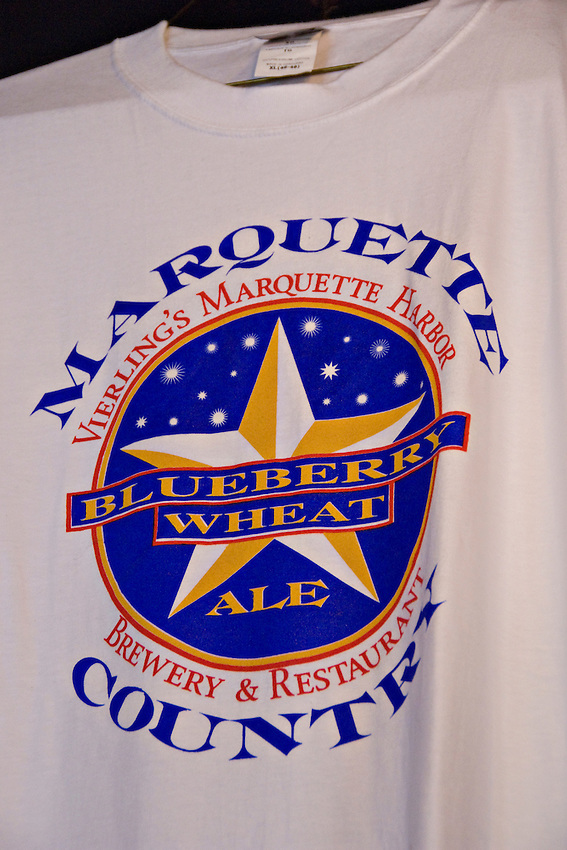 A T-shirt advertises the Blueberry Wheat Ale brewed by The Vierling Restaurant and Marquette Harbor Brewery in downtown Marquette Michigan.