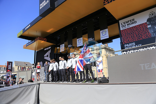 Team Sky at the Team Presentation for the upcoming 115th edition of the Paris-Roubaix 2017 race held in Compiegne, France. 8th April 2017.<br /> Picture: Eoin Clarke | Cyclefile<br /> <br /> <br /> All photos usage must carry mandatory copyright credit (&copy; Cyclefile | Eoin Clarke)