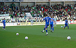 St Johnstone v Celtic.....12.04.11.Celtic fans throw balls on the pitch in protest at the six o'clock kick off.Picture by Graeme Hart..Copyright Perthshire Picture Agency.Tel: 01738 623350  Mobile: 07990 594431