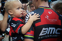 Thor Hushovd (NOR/BMC) confronting the press with his kids there<br /> <br /> GP Impanis 2014
