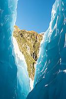 Blue, textured crevasse on Franz Josef Glacier, Westland Tai Poutini National Park, West Coast, UNESCO World Heritage Area, South Westland, New Zealand, NZ