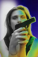 Disagio sociale.Social disease.Donna armata di pistola. Woman armed with gun......