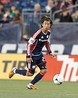 New England Revolution midfielder Lee Nguyen (24) looks to pass. Despite a red-card man advantage, in a Major League Soccer (MLS) match, the New England Revolution tied New York Red Bulls, 1-1, at Gillette Stadium on September 22, 2012.