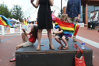 A gay pride rally in support of gay marriage in Charlottesville, VA. Photo/Andrew Shurtleff