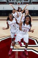 Freshman members of the Stanford Women's basketball team photo. Photo taken on Wednesday, October 2, 2013