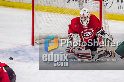25 November 2016: Saint Cloud State Huskie Goaltender Janine Alder, a Freshman from Zurich, Switzerland, makes a third period save against the University of Vermont Catamounts at Gutterson Fieldhouse in Burlington, Vermont. The Lady Cats defeated the Huskies 5-1 to take the first game of the 2016 Windjammer Classic Tournament. Mandatory Credit: Ed Wolfstein Photo *** RAW (NEF) Image File Available ***