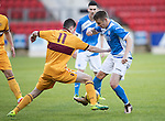 St Johnstone U20 v Motherwell U20&hellip;03.10.16.. McDiarmid Park   SPFL Development League<br />Connor McLaren is tackled by Jake Hastie<br />Picture by Graeme Hart.<br />Copyright Perthshire Picture Agency<br />Tel: 01738 623350  Mobile: 07990 594431