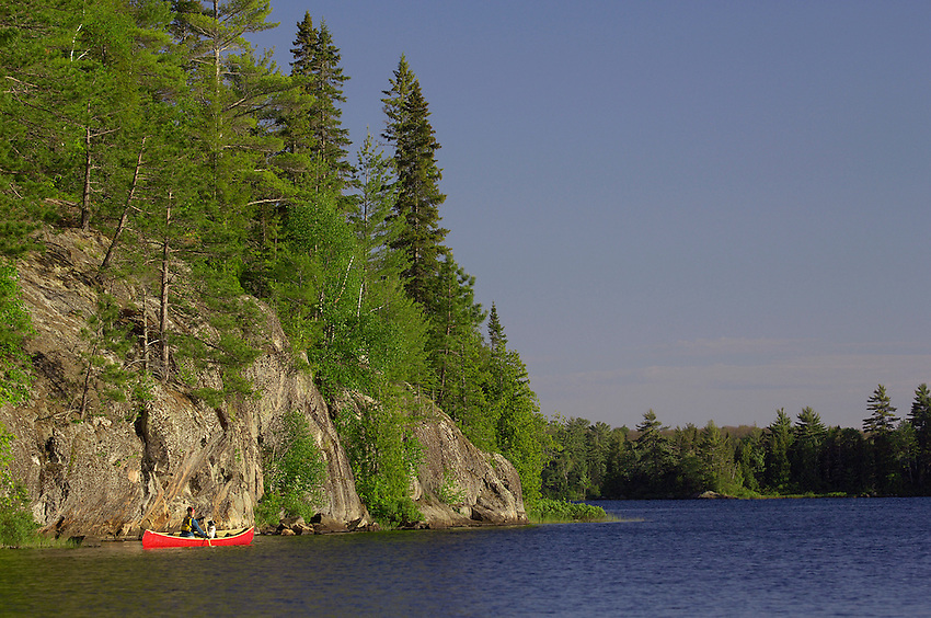 A solo canoeist and her dog paddle a red canoe on Craig Lake at Craig Lake State Park near Michigamme Michigan.