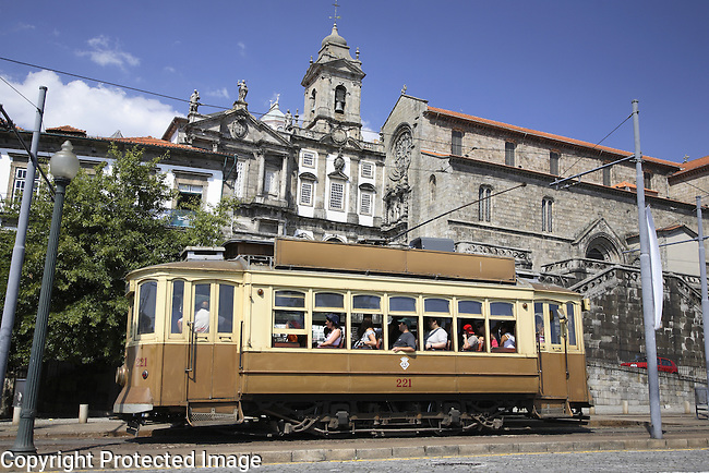 San Francisco Church with a Traditional Tram in the Foreground, Porto - Oporto, Douro Litoral, Portugal