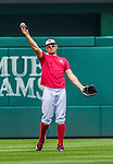 21 May 2014: Washington Nationals third baseman Ryan Zimmerman takes some outfield practice and conditioning during the rehabilitation of his finger injury prior to a game between the Cincinnati Reds and the Washington Nationals at Nationals Park in Washington, DC. The Reds edged out the Nationals 2-1 to take the rubber match of their 3-game series. Mandatory Credit: Ed Wolfstein Photo *** RAW (NEF) Image File Available ***