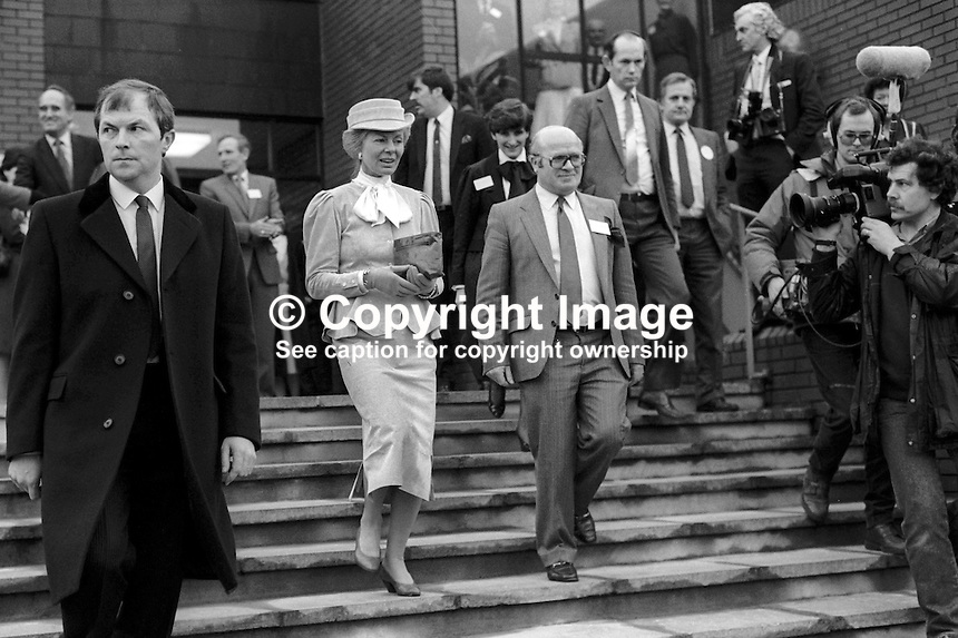 Duchess of Kent ending her visit to the House of Sport in Belfast is escorted back to her limousine by Victor Haslett of the N Ireland Sports Council, March 1986. The duchess was on a two day visit to the Province. 19860205DK7<br />