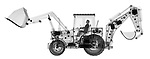 X-ray image of a loader with backhoe (black on white) by Jim Wehtje, specialist in x-ray art and design images.
