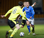 St Johnstone v St Mirren.....11.01.14   SPFL<br /> Lee Croft is closed down by Sean Kelly and Danny Grainger<br /> Picture by Graeme Hart.<br /> Copyright Perthshire Picture Agency<br /> Tel: 01738 623350  Mobile: 07990 594431