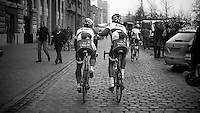 Scheldeprijs 2012..Andre Greipel chaperoned to the stage by a team-mate