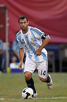 Argentina midfielder Javier Mascherano (14). The men's national teams of the United States and Argentina played to a 0-0 tie during an international friendly at Giants Stadium in East Rutherford, NJ, on June 8, 2008.