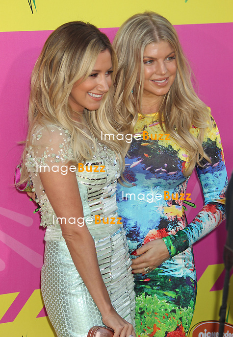 Ashley Tisdale & Fergie ( pregnant ) attend the Nickelodeon's 26th Annual Kids Choice Awards at The USC Galen Center. Los Angeles, March 23, 2013.