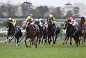 (L-R) Vous Etes Jolie (Yuichi Fukunaga), Reine Minoru (Kenichi Ikezoe), Rising Reason (Kyosuke Maruta), Soul Stirring ( Christophe Lemaire), Lys Gracieux (Yutaka Take),<br /> APRIL 9, 2017 - Horse Racing :<br /> Reine Minoru ridden by Kenichi Ikezoe wins the Oka Sho (Japanese 1000 Guineas) at Hanshin Racecourse in Hyogo, Japan. (Photo by Eiichi Yamane/AFLO)
