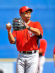 28 February 2011: Washington Nationals' second baseman Jerry Hairston Jr. warms up prior to a Spring Training game against the New York Mets at Digital Domain Park in Port St. Lucie, Florida. The Nationals defeated the Mets 9-3 in Grapefruit League action. Mandatory Credit: Ed Wolfstein Photo