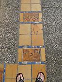 Stars' hand prints outside the Palais des Festivals et des Congres, Cannes, France.