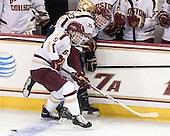 Michael Matheson (BC - 5), Patrick Brown (BC - 23), Jeff Costello (ND - 11) - The visiting University of Notre Dame Fighting Irish defeated the Boston College Eagles 7-2 on Friday, March 14, 2014, in the first game of their Hockey East quarterfinals matchup at Kelley Rink in Conte Forum in Chestnut Hill, Massachusetts.