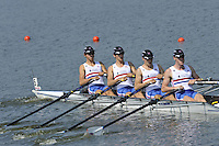 Brest, Belarus.  GBR BM4X,  Bow, Zak LEE-GREEN, Sam SCRIMGEOUR, Jamie WATSON and Carl DELANEY at the start.  2010. FISA U23 Championships. Thursday,  22/07/2010.  [Mandatory Credit Peter Spurrier/ Intersport Images]