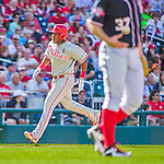 23 May 2015: Philadelphia Phillies infielder Maikel Franco rounds the bases after hitting a home run in the 3rd inning against the Washington Nationals at Nationals Park in Washington, DC. The Phillies defeated the Nationals 8-1 in the second game of their 3-game weekend series. Mandatory Credit: Ed Wolfstein Photo *** RAW (NEF) Image File Available ***